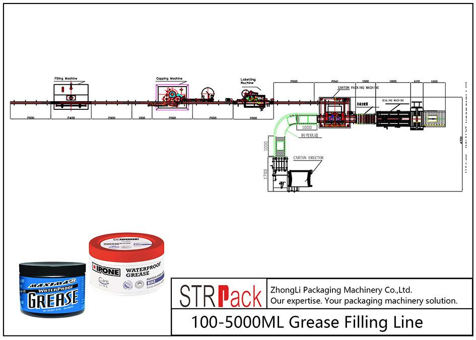 Liña de recheo automática de graxa 100ML-5L
