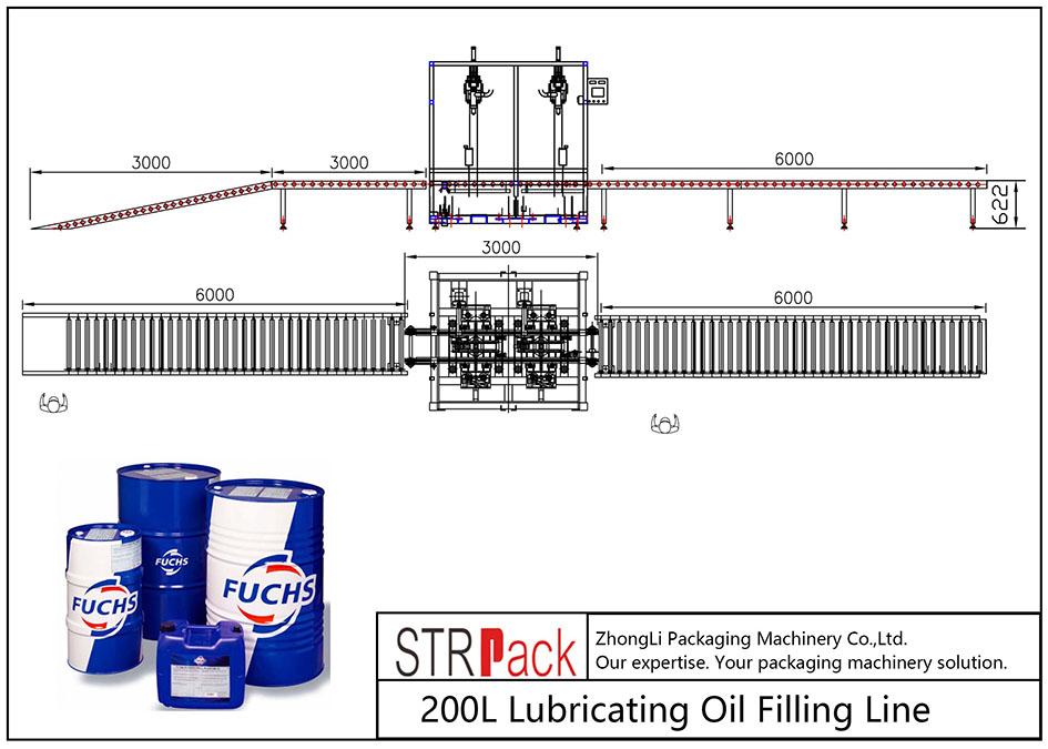 Liña de recheo automática de aceite lubricante 200L