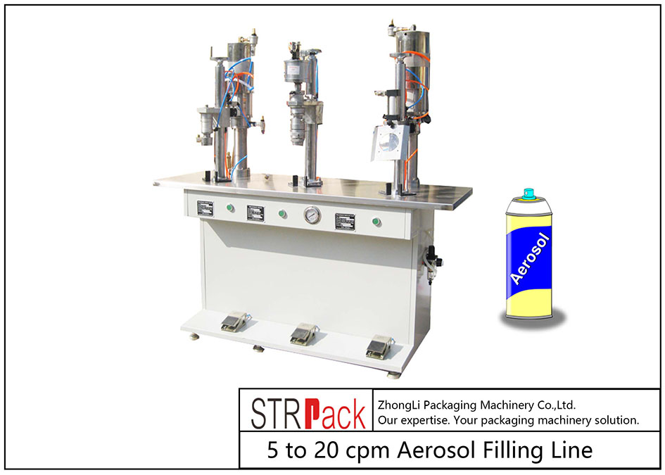 Máquina de recheo semiautomática de aerosol