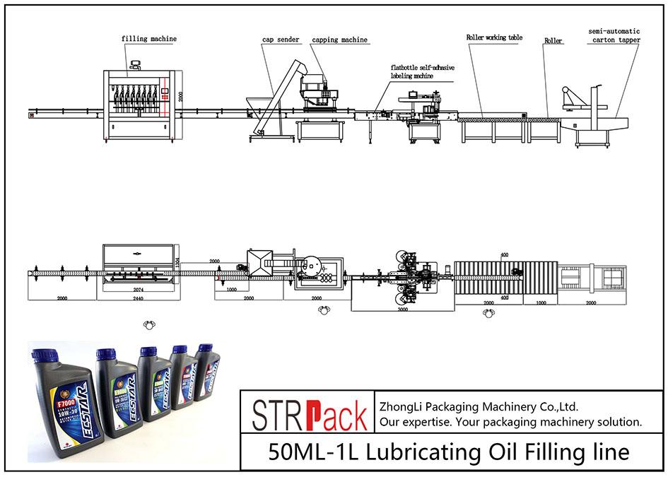 Liña de recheo automática de aceite lubricante 50ML-1L