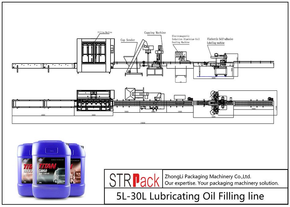 Liña automática de recheo de aceite lubricante 5L-30L