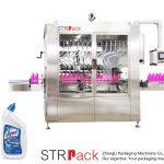 Máquina de recheo de líquidos con botella de pescozo angular