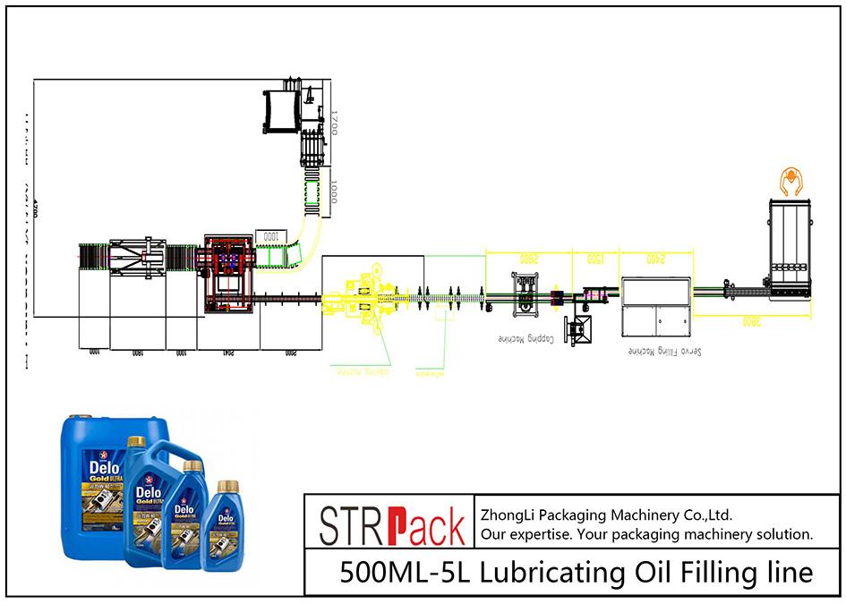 Liña automática de recheo de aceite lubricante 500ML-5L