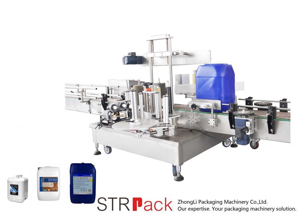 Máquina automática de etiquetado de dobre lado para tambor de 5-25L