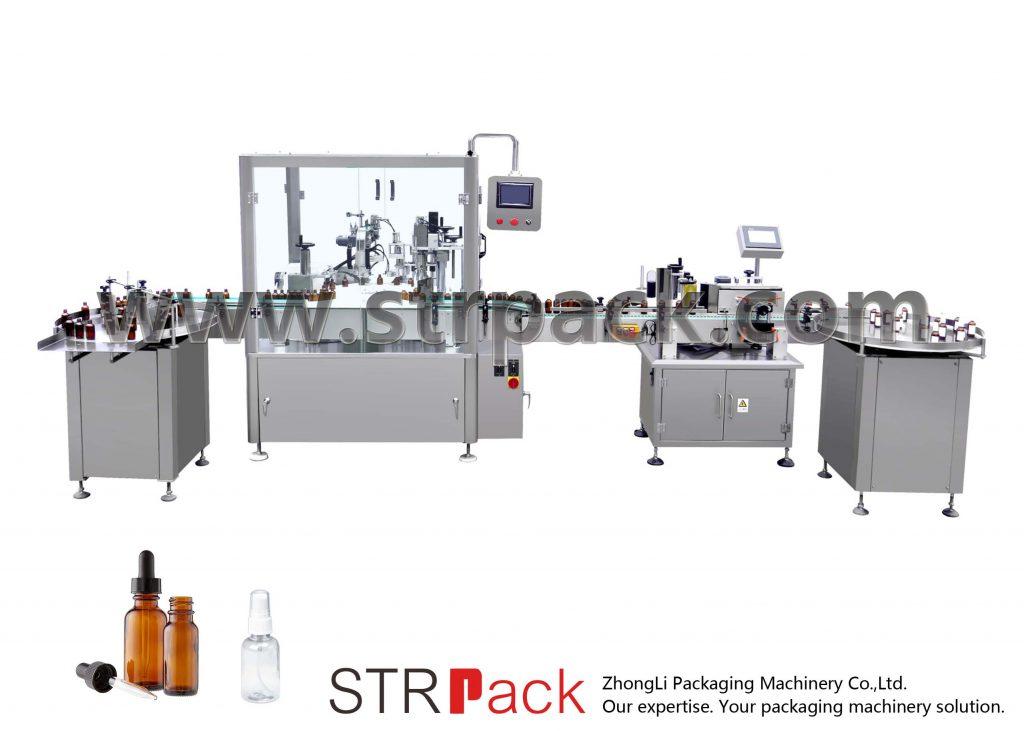 Máquina de recheo e tapado automático de botellas