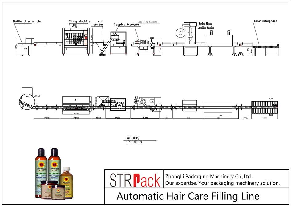 Liña de recheo automática do coidado do cabelo