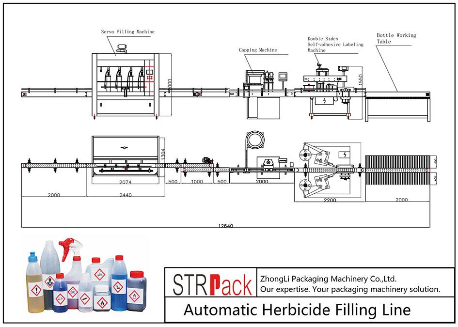 Liña de recheo de herbicidas automático