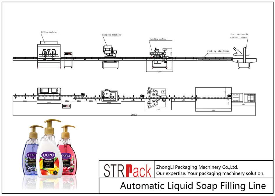 Liña de recheo automático de xabón líquido