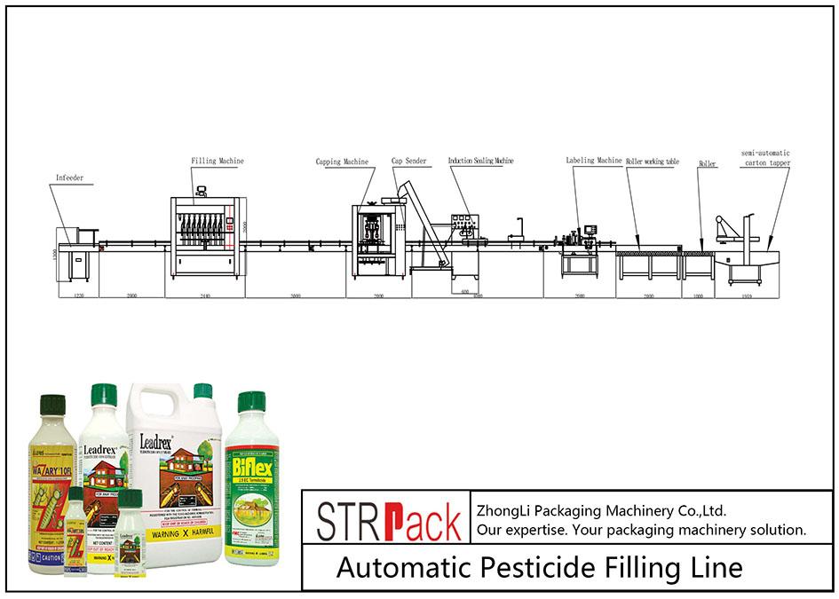 Liña de recheo automática de pesticidas
