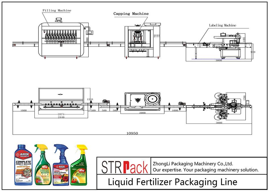 Liña de envasado de fertilizantes líquidos automáticos