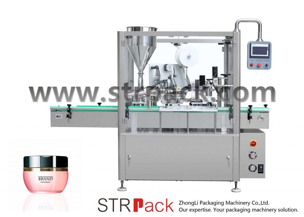 Máquina de recheo, selado e tapado de crema