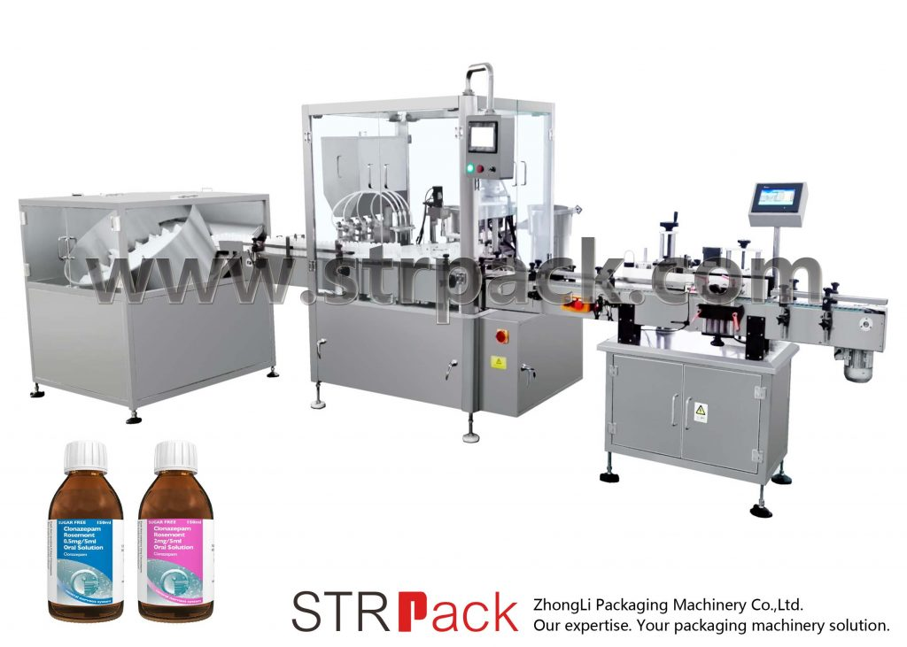 Máquina de recheo e capote de xarope de líquido oral